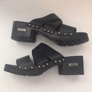 •90s Vintage• Bongo Wooden Studded Clog Heels
